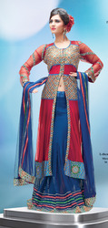 Jodha Designer Red And Blue Lehenga
