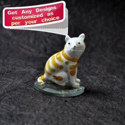Handmade Boro Glass Desk Decor Cat - Hand Crafted Decor