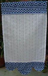 White Curtain with Indigo Design