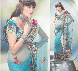Net Floral Firozi Designer Saree