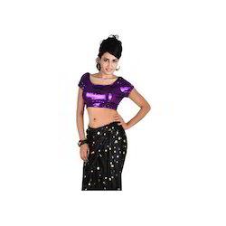 Sequined Purple Tie-Back Saree Blouse