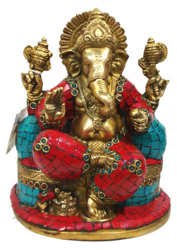 Ganesh Sitting W/pillow & Stone Work