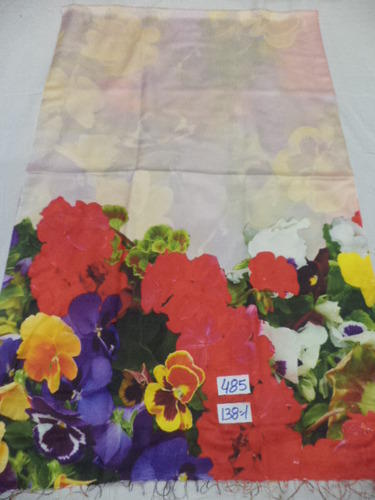 Silk Shawl With Digital Print Floral Border