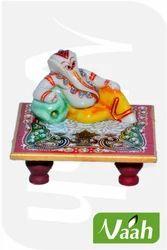 Vaah Marble Resting Ganesha Decorative Chowki