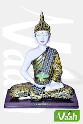 Vaah Resin Meditating Buddha White Showpiece