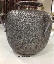 Handwork Carving 925 Sterling Silver Decorative Pot