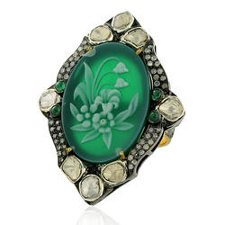 Rose Cut Diamond Cameo Ring Jewelry