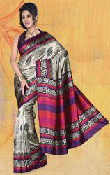 Chikoo%2C++Multi+Jacquard+Bhagalpuri+Silk+Saree+with+Blouse.