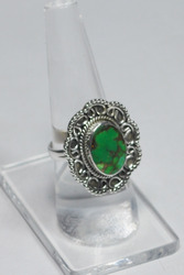 925 Sterling Silver Green Copper Turquoise Rings