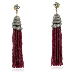 Ruby Tassel Dangle Earring