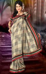 Beige+and+Grey+Art+Silk+Saree+with+Blouse