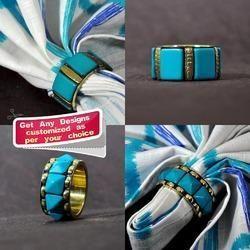 Bangle Shaped Blue Blocks Designer Brass Napkin Ring