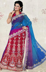 Red+Blue+and+Magenta+Net+%26+Velvet+lehenga+Saree+with+Blouse