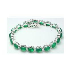 Green Onyx Cabochan Silver Bracelet