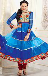 Blue and Dark Blue Net Churidar Kameez with Dupatta
