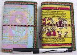 Handmade Paper Mini Journals In Antique, Theme Prints