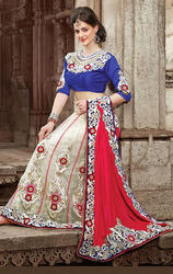 Red+and+Off+White+Color+Velvet+and+Net+Lahenga+Sarees