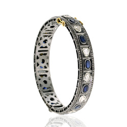 Rose Cut Diamond Blue Sapphire Solid Bracelet