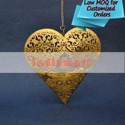 Golden Glittering Heart Hanging Iron Sheet