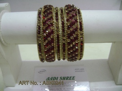 Hyderabadi Bangles with Golden and Mehroon Studs