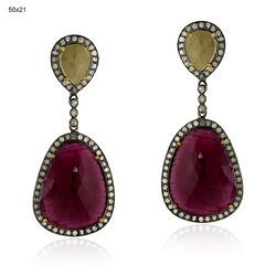 Latest Ruby Lite Gemstones Earrings Jewelry