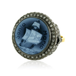 Cameo Pave Diamond Ring