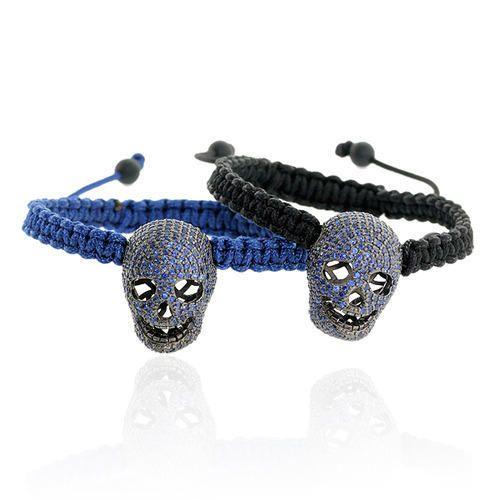 Blue Sapphire Skull Macrame Bracelet