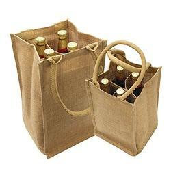 Soft Handle Jute Wine Bag