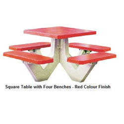 Square Concrete Table With Four Bench