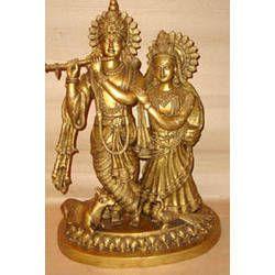 Radha Krishna Standing on Lotus Base