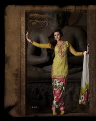 Yellow Readymade Suit Fashionable Wear