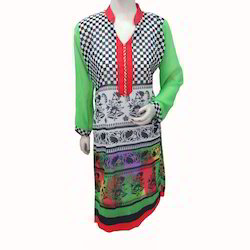 Chess Pattern Collar Kurti