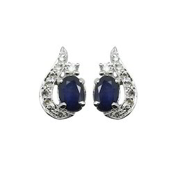 Sapphire Silver Earring