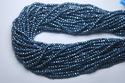 Blue Pyrite Faceted Rondelles,strand 14 Inches, 3-3.5 mm