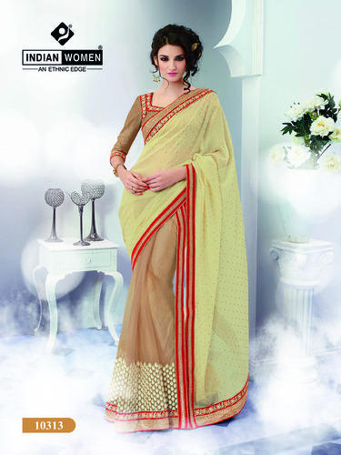 Cream And Beige Georgette Designer Saree