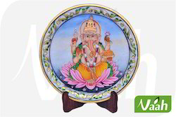Vaah Marble Ganesha Plates with Wooden Stand