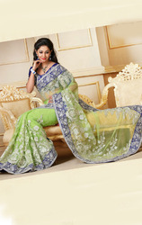 Sea+Green+Color+Net+Designer+Sarees+with+Blouse