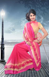 Beige+and+Pink+Faux+Georgette+Saree+with+Blouse