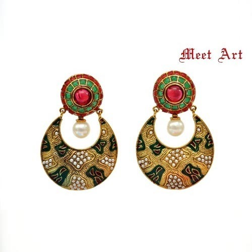 buy earrings online green shop plated gold craftsvilla stone