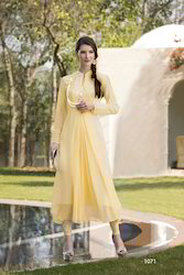Cream Georgette Embroidery Party Wear Kurti