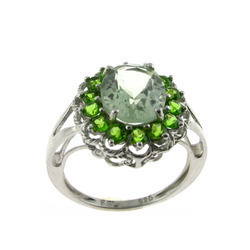 green amethyst chrome ring