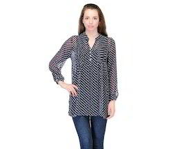 Navy+Blue+%26+White+Polka+Dots+Ggt+Tunic+with+Pleated+Yoke