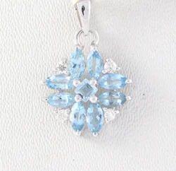 Aquamarine And Diamond 18K White Gold Pendent