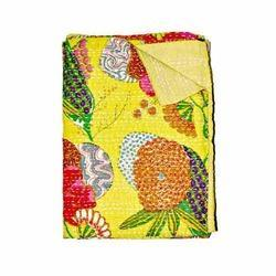 Yellow Floral Kantha Blanket