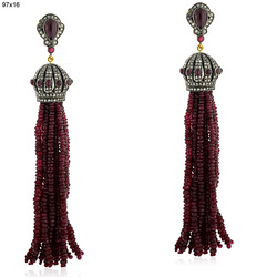 Ruby Gemstone Tassel Earrings
