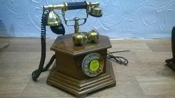 6 Corner Wooden Antique Telephone