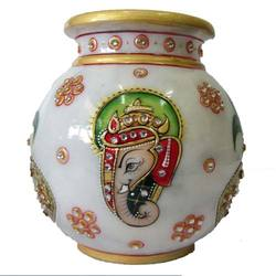 Gold Painted Marble Pot