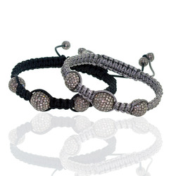 Macrame Bracelet Pave Diamond Beads