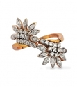 yellow gold double flower diamond ring