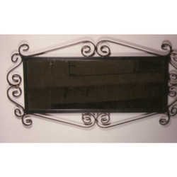 Wrought Iron Fabricated Metal Powder Coated Antique Mirror